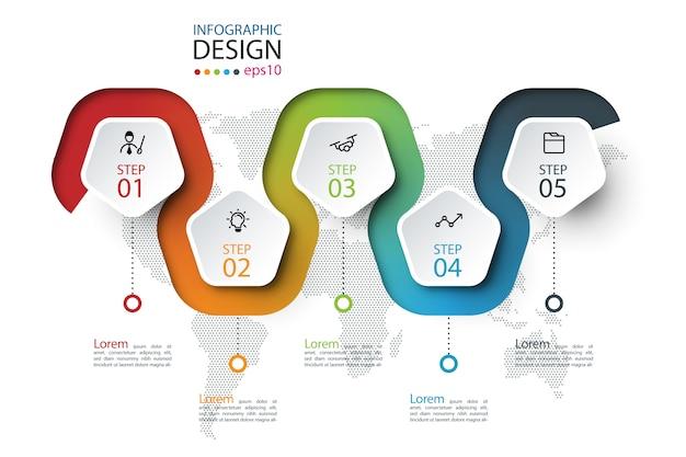 Étiquette du pentagone avec infographie liée à la ligne de couleur. Vecteur Premium