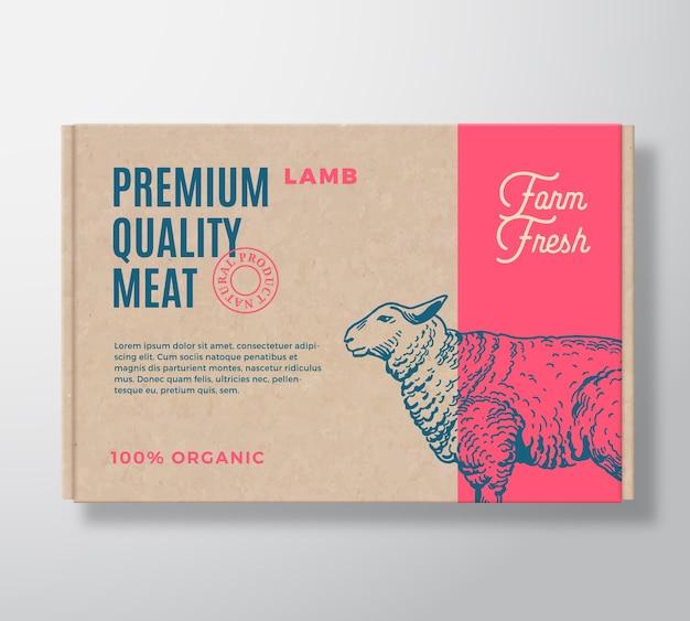 Étiquette D'emballage De Viande D'agneau De Qualité Supérieure Sur Un Conteneur De Boîte En Carton Artisanal Vecteur gratuit