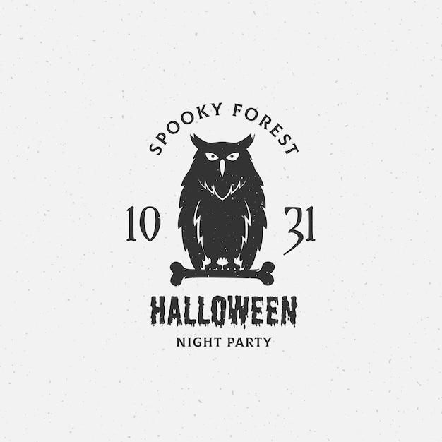 Étiquette, Emblème Ou Modèle De Carte D'halloween De Forêt Effrayante. Vecteur gratuit