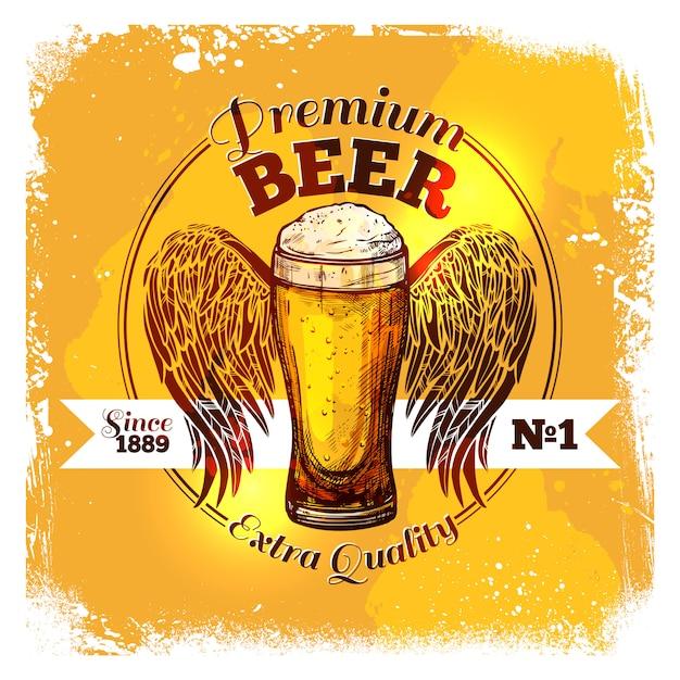 Étiquette d'esquisse de bière Vecteur gratuit