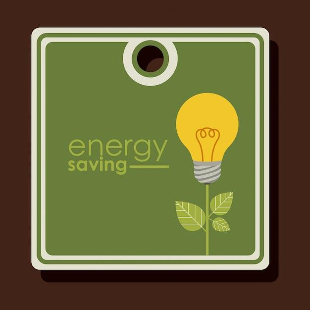 Étiquette ou étiquette de conception d'économie d'énergie Vecteur Premium