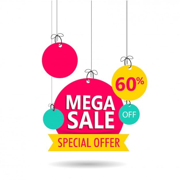 Étiquette ou étiquette mega sale offrant une remise de 60% sur fond blanc Vecteur Premium