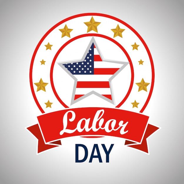 Étiquette avec étoile du drapeau américain à la fête du travail Vecteur gratuit