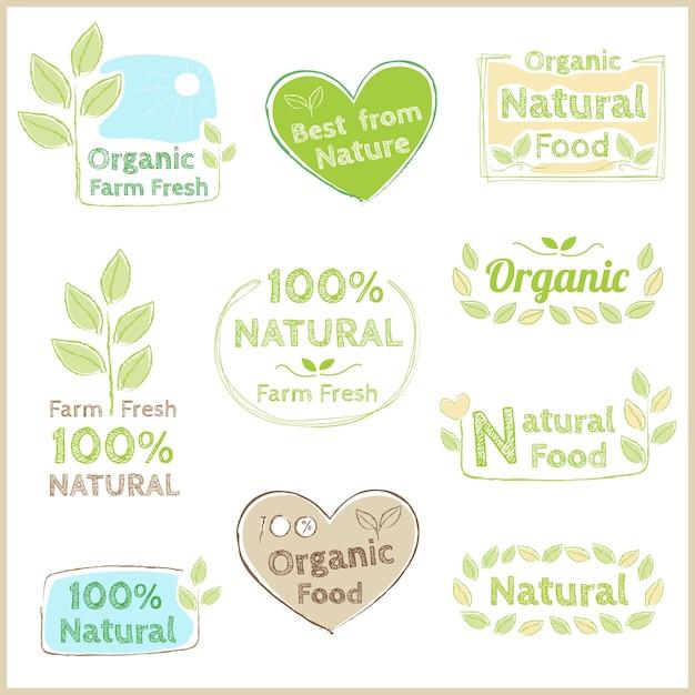 Étiquette de garantie de qualité biologique non chimique Vecteur Premium