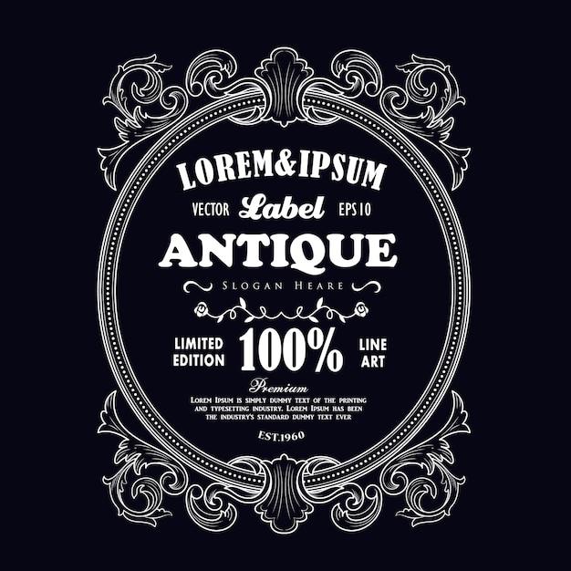 Étiquette Gravée à Thème Antique Vecteur Premium
