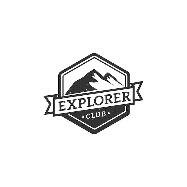 Étiquette, insigne, logo ou emblème vintage de montagne Vecteur Premium