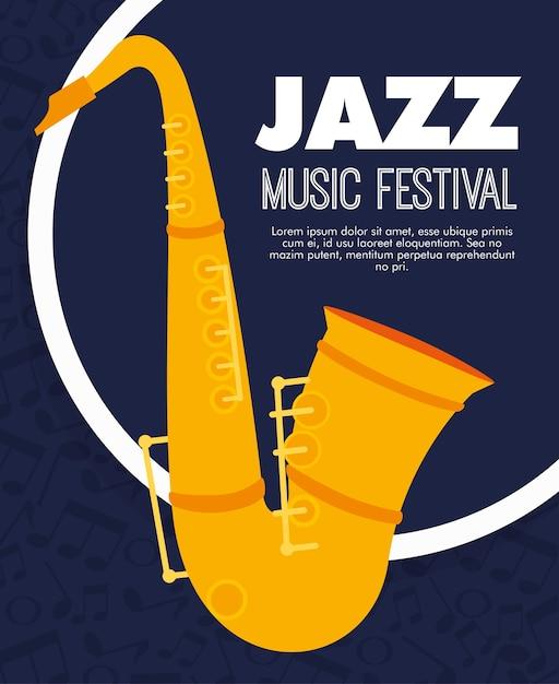 Étiquette d'instrument de musique de saxophone Vecteur Premium