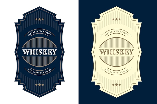 Étiquette De Logo De Cadres De Luxe Royal Vintage Pour Les étiquettes De Bouteille D'alcool Et De Boissons De Whisky De Bière Vecteur Premium