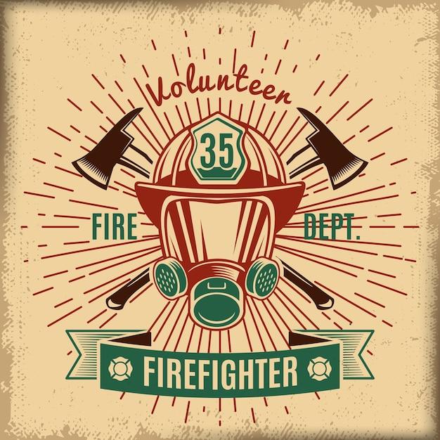 Étiquette De Lutte Contre Les Incendies Vintage Vecteur gratuit