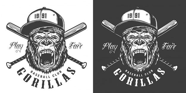 Étiquette De Mascotte De Club De Baseball Vecteur gratuit