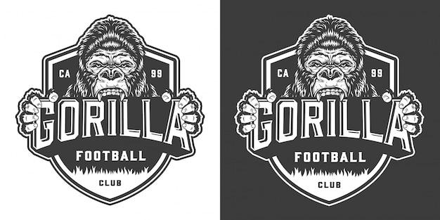 Étiquette De Mascotte De Gorille De Club De Football Vecteur gratuit