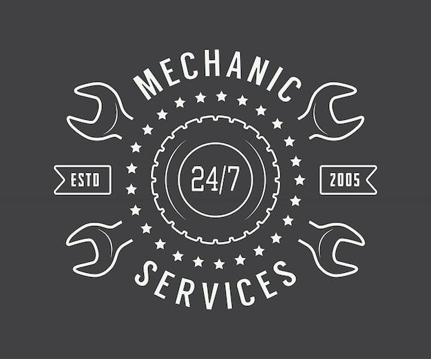 Étiquette de mécanicien, emblème Vecteur Premium