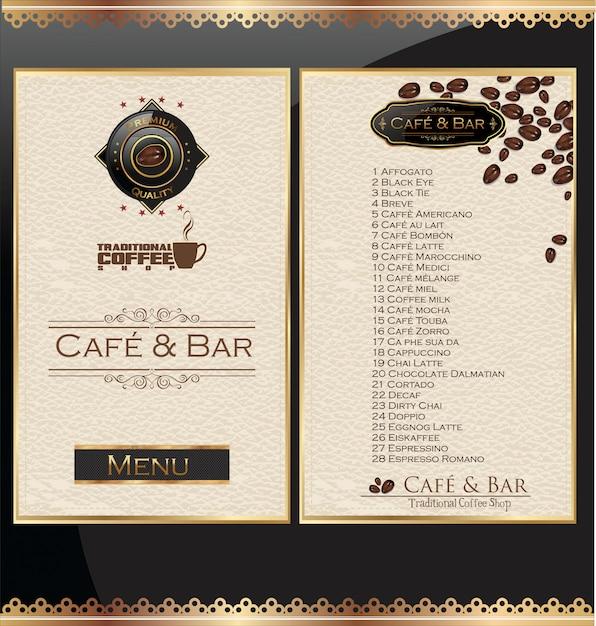 Étiquette de menu de café maison Vecteur Premium