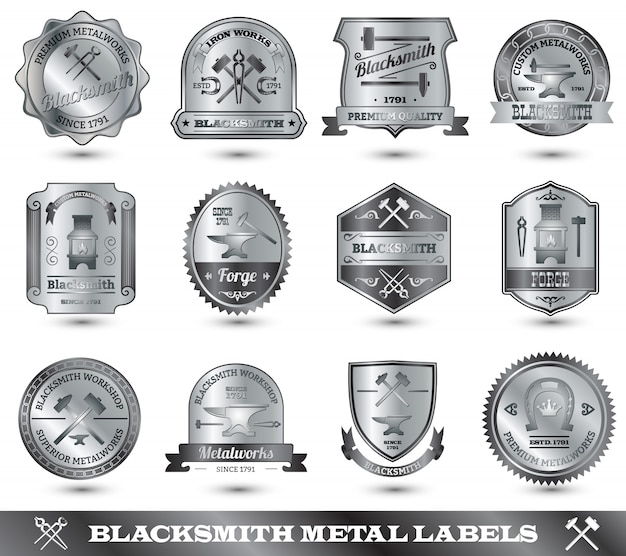Étiquette de métal de forgeron Vecteur gratuit