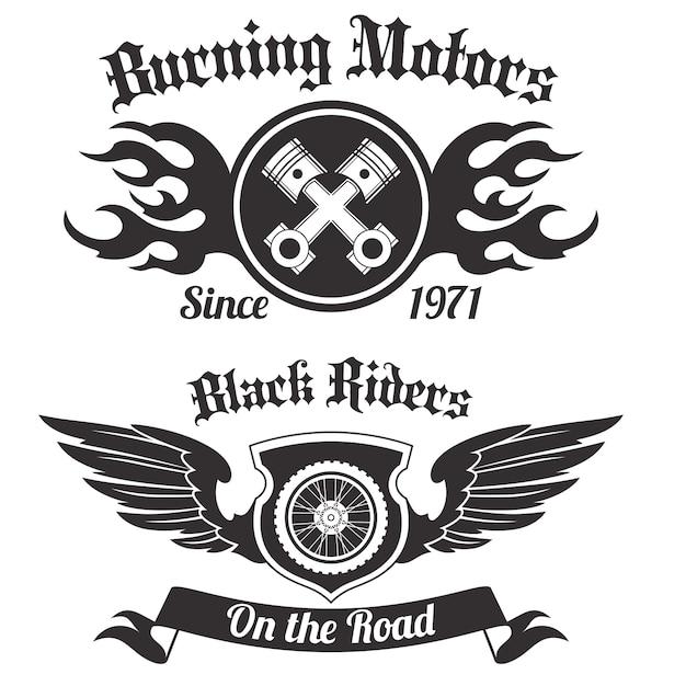 Etiquette moto noir Vecteur gratuit