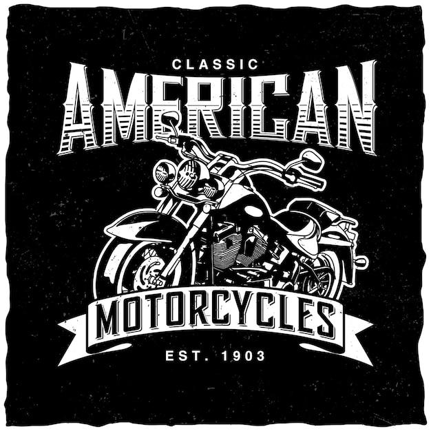 Étiquette De Motos Américaines Classiques Vecteur gratuit