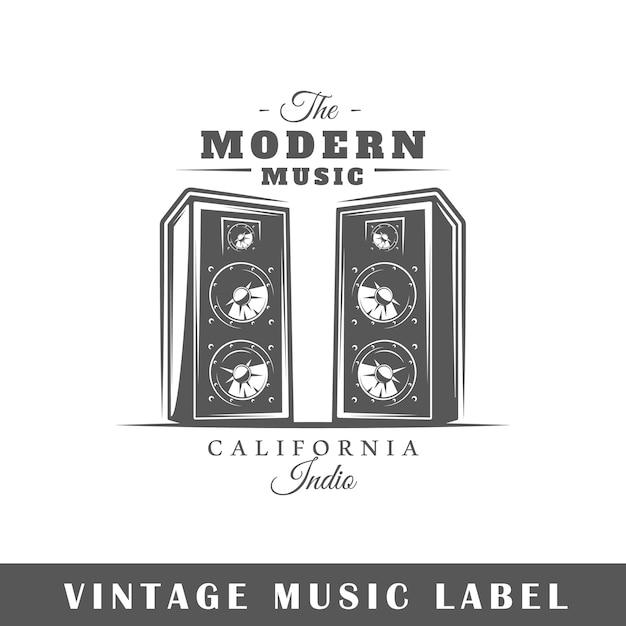 Étiquette De Musique Isolée Sur Fond Blanc. Vecteur Premium