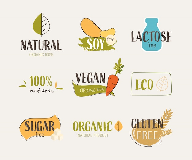 Étiquette naturelle et logo d'agriculture biologique fraîche Vecteur Premium