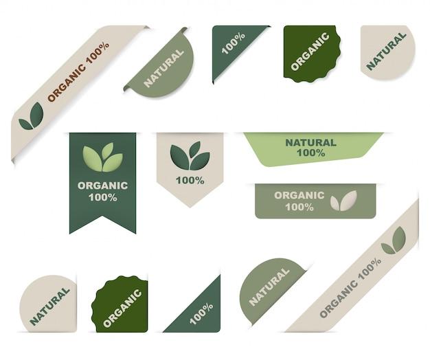 Étiquette naturelle et ruban organique vert. Vecteur Premium