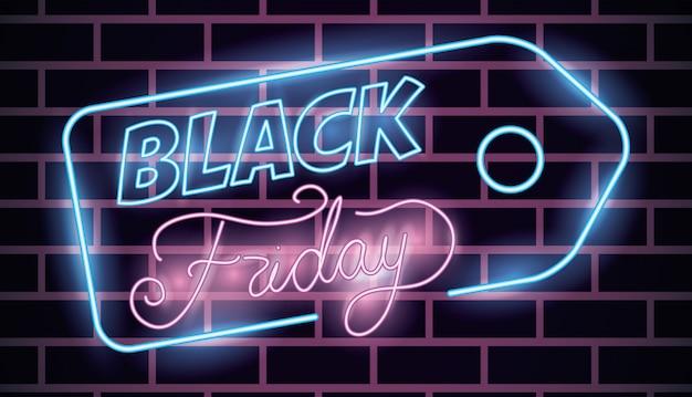 Étiquette de néon noir vendredi Vecteur gratuit