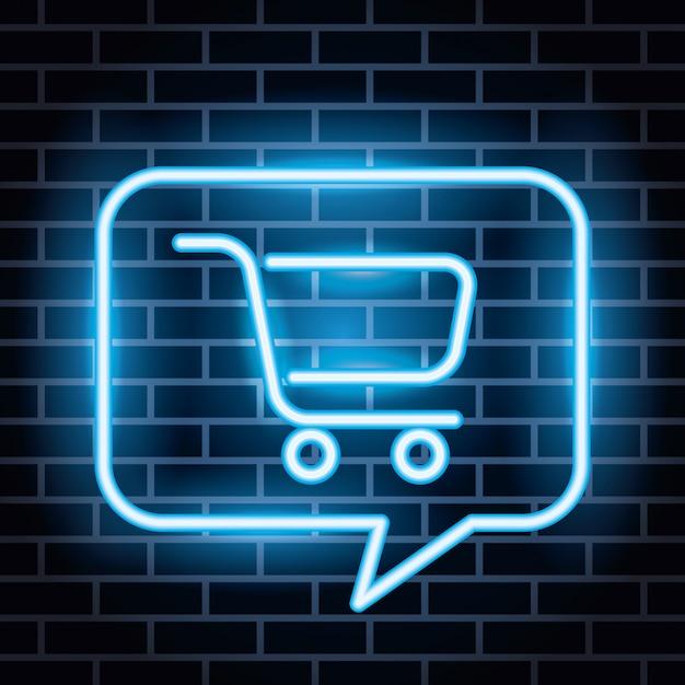 Étiquette De Néons Avec Panier Shopping Dans Une Bulle De Dialogue Vecteur gratuit