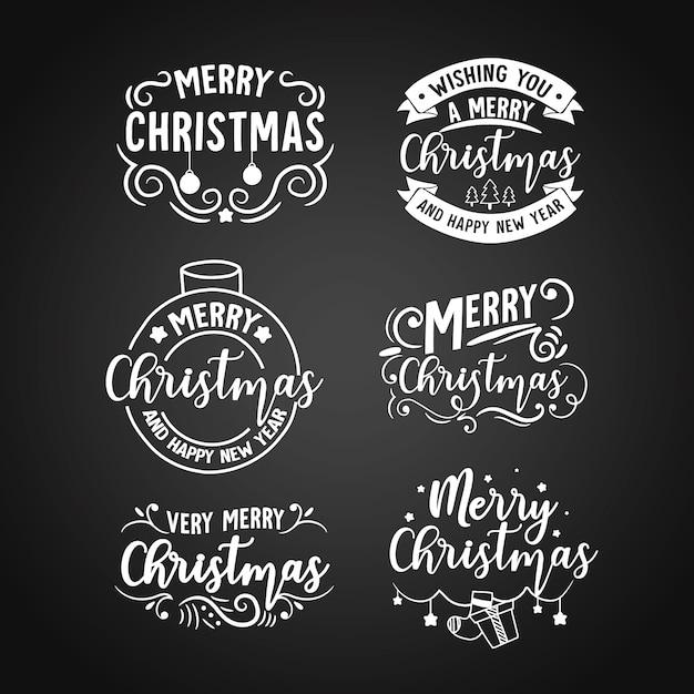 Étiquette De Noël Sur Le Tableau Noir Vecteur gratuit