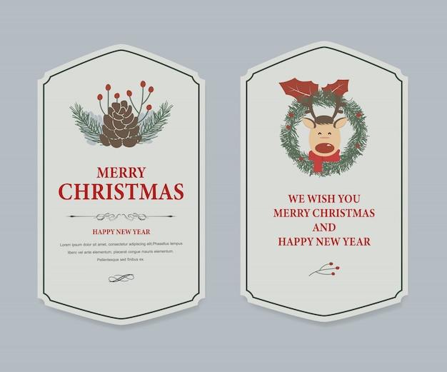 Étiquette De Noël Et Vintage Bannière De Noël. Vecteur Premium