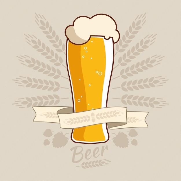 Étiquette oktoberfest vintage avec des oreilles de blé et tasse de verre à bière. Vecteur Premium