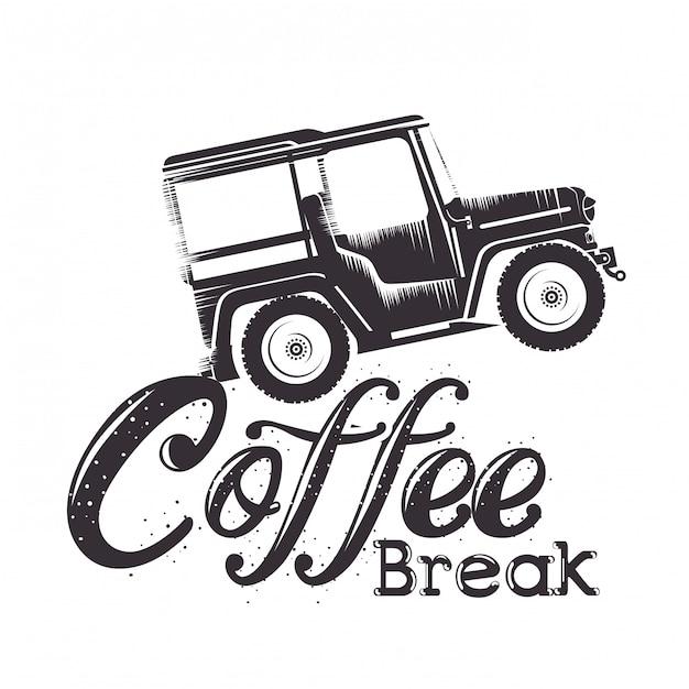 Etiquette Pause Café Avec Voiture Vecteur gratuit