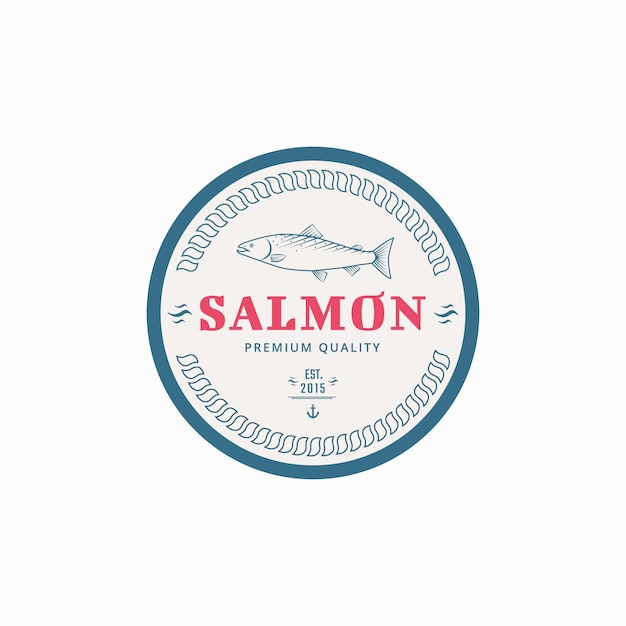 Etiquette de pêche au saumon. Vecteur Premium