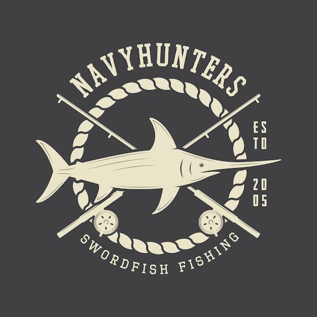 Étiquette de pêche, badge Vecteur Premium