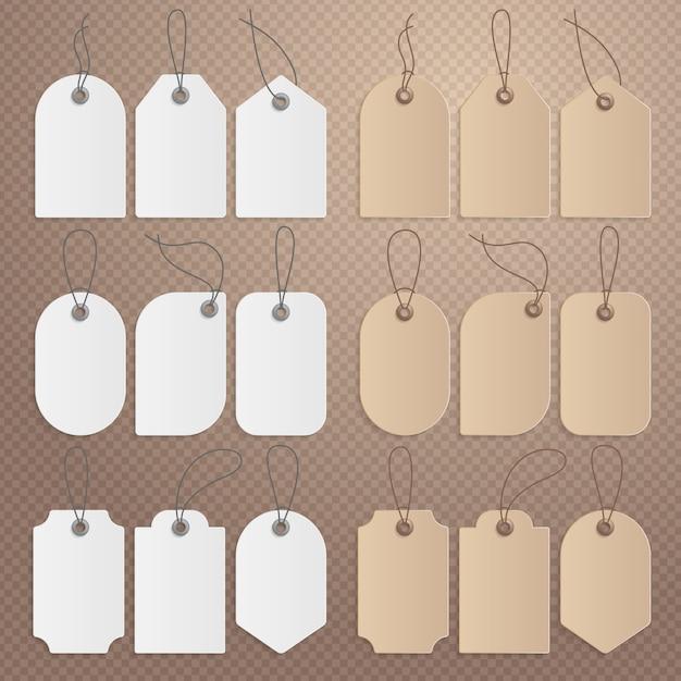 Étiquette de prix réaliste. etiquette en carton, étiquettes de vente en papier Vecteur Premium
