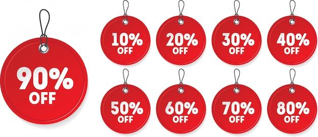Étiquette de prix de vente rouge réaliste. signe de réduction avec différents pourcentages Vecteur Premium