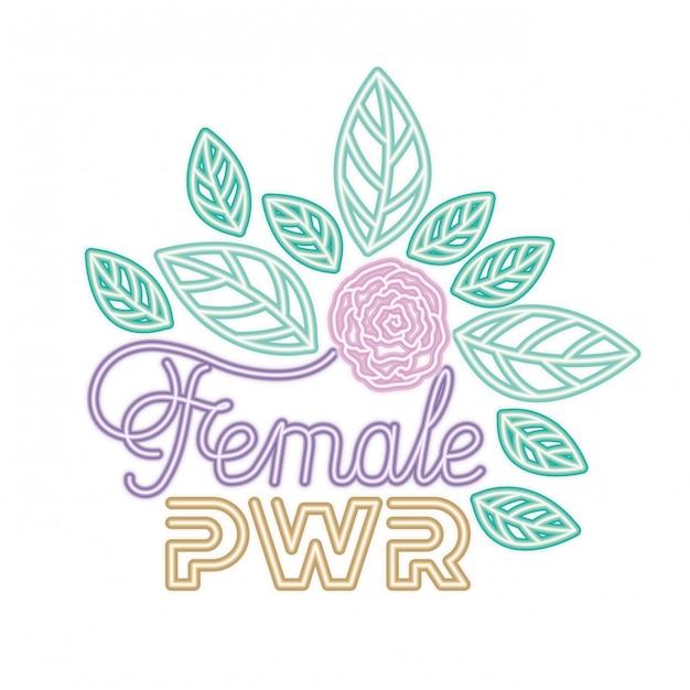 Étiquette de puissance féminine avec des icônes de roses Vecteur Premium