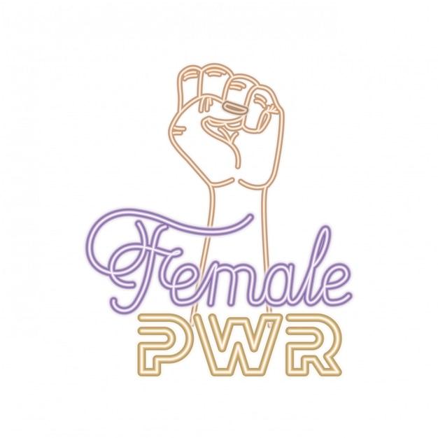 Étiquette de puissance féminine avec la main dans les icônes de signal de combat Vecteur Premium