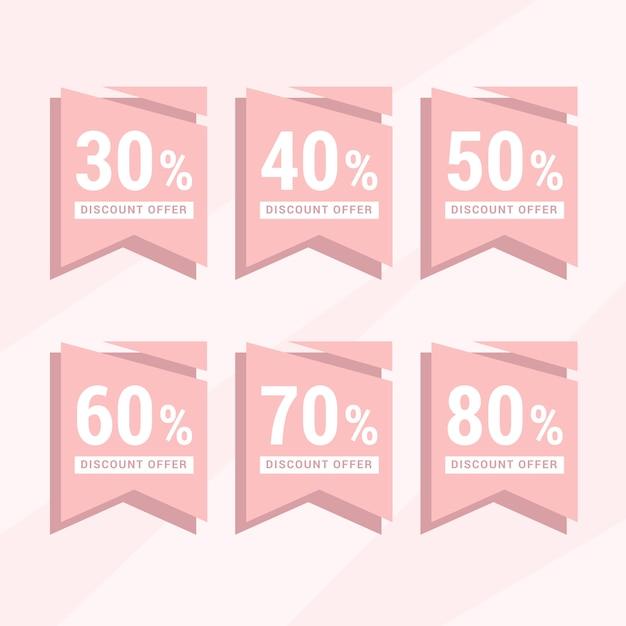 Étiquette De Réduction Rose Set Collection Vecteur Premium