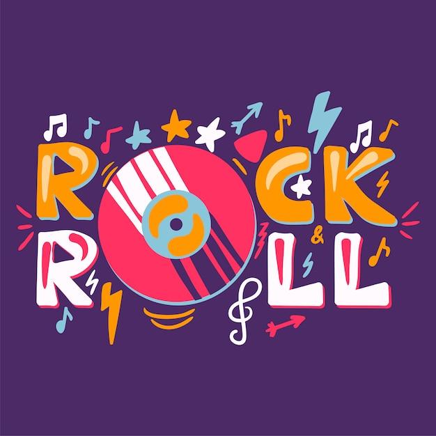 Étiquette rétro rock n roll Vecteur Premium