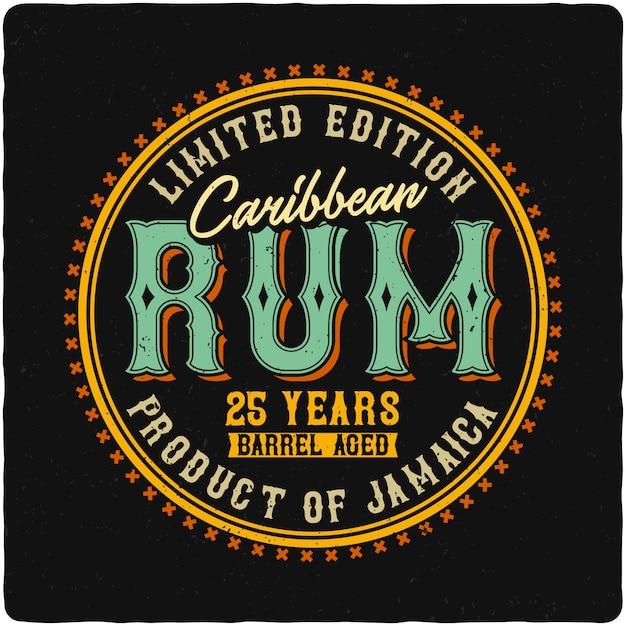 Étiquette De Rhum Des Caraïbes Vecteur Premium