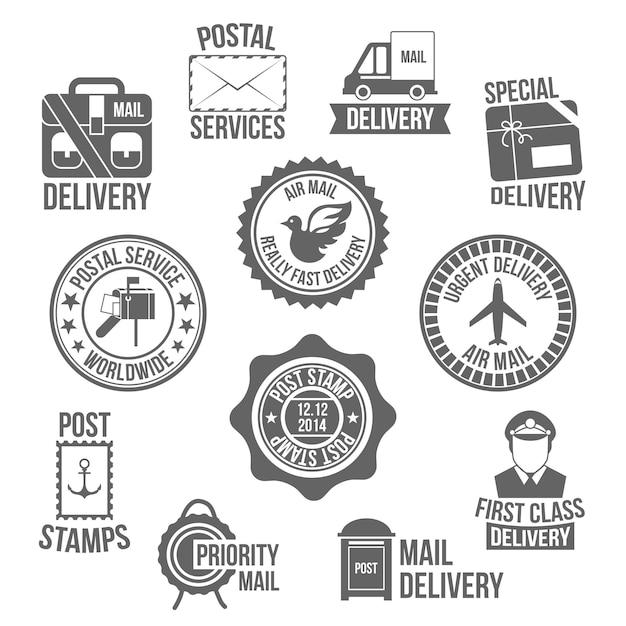Étiquette De Service Postal Vecteur gratuit