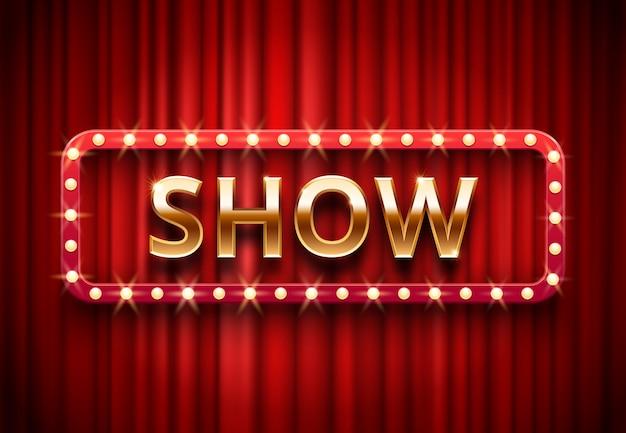 Étiquette De Spectacle De Théâtre, Spectacles De Lumières De Scène Festive, Texte Doré Sur Fond De Rideaux Rouges Vecteur Premium