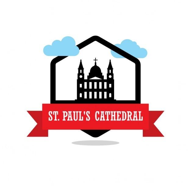 Étiquette st pauls cathedral ribbon Vecteur gratuit