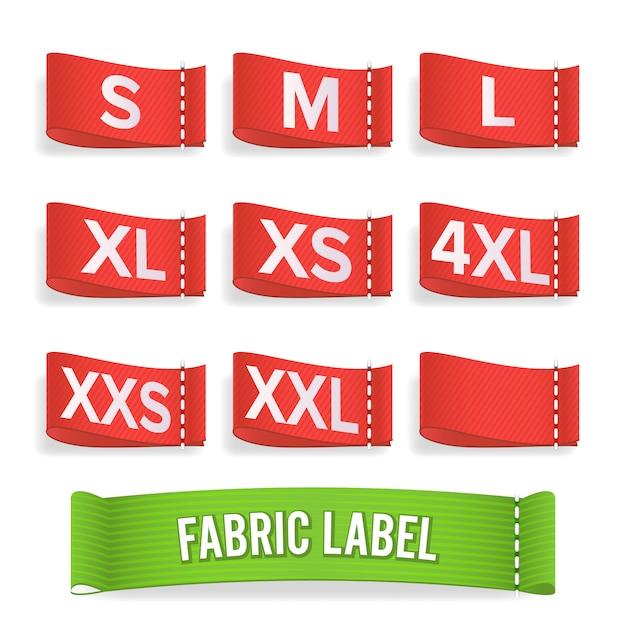 Étiquette taille tissu. Vecteur Premium