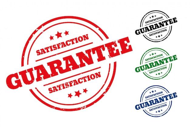 Étiquette De Tampon En Caoutchouc De Garantie De Satisfaction Lot De Quatre Vecteur gratuit