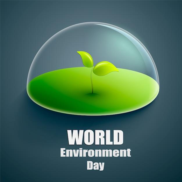 Étiquette de vecteur de monde environnement jour ou bannière Vecteur Premium