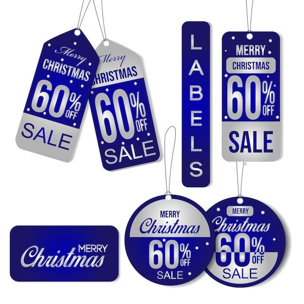 Étiquette de vente de noël Vecteur Premium