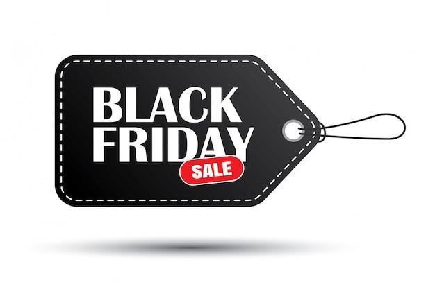 Étiquette de vente noir vendredi noir isolé sur fond blanc Vecteur Premium