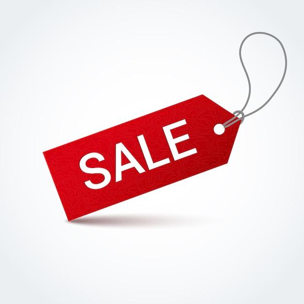 Étiquette de vente rouge avec inscription de vente blanche. Vecteur Premium
