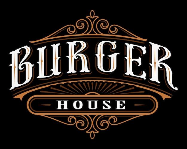 Étiquette Vintage De Hamburger. Inscription De Restauration Sur Fond Sombre. Tous Les Objets Sont Sur Les Groupes Séparés. Vecteur Premium