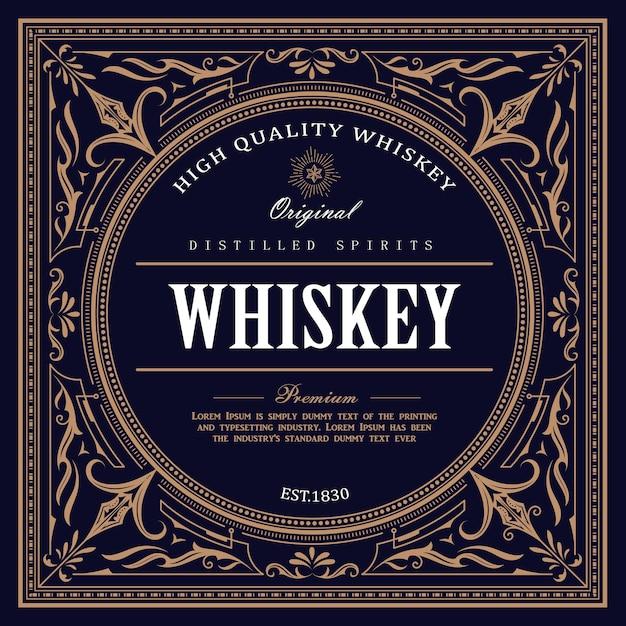 Étiquette De Whisky Design Vintage Rétro Vecteur Premium