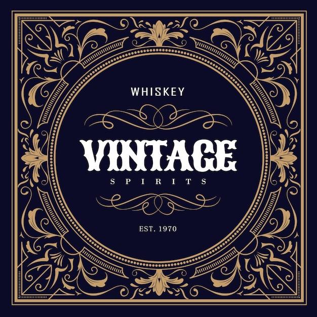 Étiquette De Whisky Design Vintage Vecteur Premium